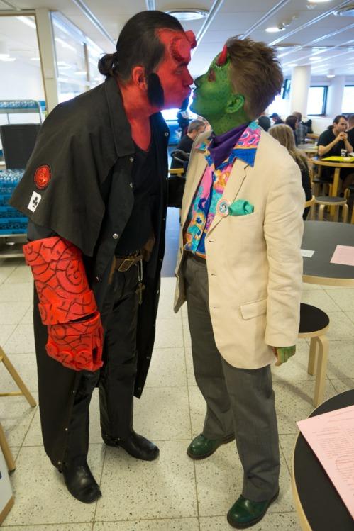 Hellboy ja Lorne! Kuvassa tiettävästi myös Petri Hiltunen ja Hannele Parviala. (kuva: Markku Lappalainen)