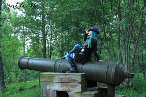 The cheapest way to travel to Åland is to be shot there with a cannon. Magdalena Hai observes fellow author Morre careen towards the horizon. (Photo credit: J. S. Meresmaa)